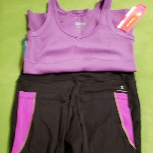 New Balance Black/Purple Athletic Capri